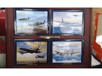 RARE 4 PLANE FRAME PAINTED ON SLATE PLCTURE