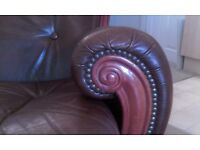 Brown Leather vintage chair/armchair with wood and stud detail