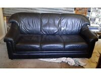 Leather look black 3 seater settee sofa