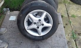 4 vw 13inch 4stud wheels with tyres