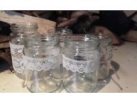 70 Wedding jam jars used as glasses or candle holders