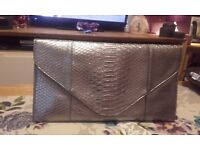 Silver Crocodile Skin Style Handbag and Silver Snakeskin Style Clutch Bag. Never used.