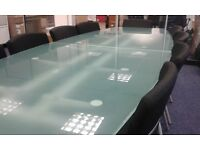 Board Room Luxury Table. Glass, 2 tables joined to form a table. 10 matching chairs