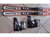 Junior ski boots and skis
