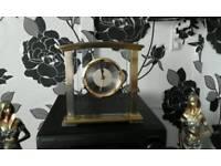 Brass chrome and glass mantel clock