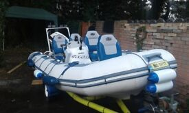 rib solid hull avon 4.5m and trailer and johnson 40hp 2stroke , ceter consill ,4 seats