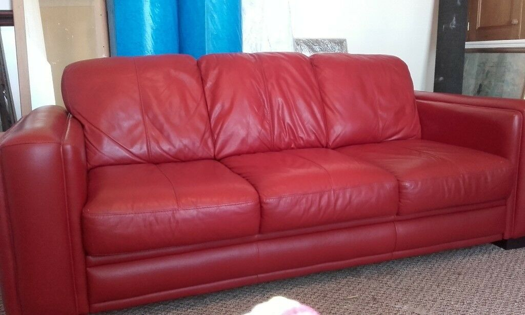 real red leather sofa settee couch dfs near skegness   in Skegness ...