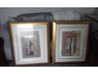 matching two large pictures. quality prints. gold frames
