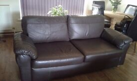 3 + 2 seater chocolate brown leather sofas excellent clean condition