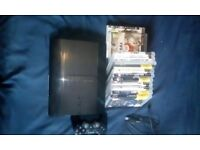 ps3 super slim 500gb with 1 controller and 13 games