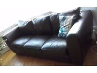 large 3 seater and 2 seater brown leather sofas. From Furniture Village.