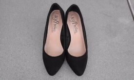 "LADIES BLACK SUEDE 3"" HEEL SIZE 4/37 AS NEW"