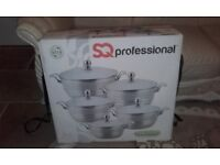 Stainless crome SQ pots set of 5