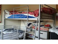 Silver metal framed high sleeper single bed for sale