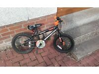 """Ideal Christmas Present - Black Halfords 16"""" Frame Kids Bike - Suit 5 to 7 year old - Good Condition"""