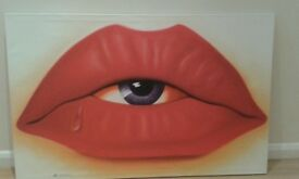 Large red lips canvas painting