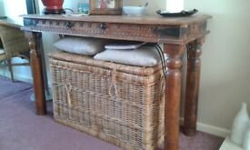 Console Table and Matching Mirror with wrought iron detailing in Indian Pine