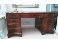 Large Vintage Flame Mahogany Leather Topped Pedestal Writing Desk