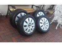 T4 wheels complete with R16 tyres and locking nuts.... collection Bodmin