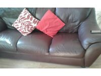 Leather 3 seater settees x2 for sale chocolate brown