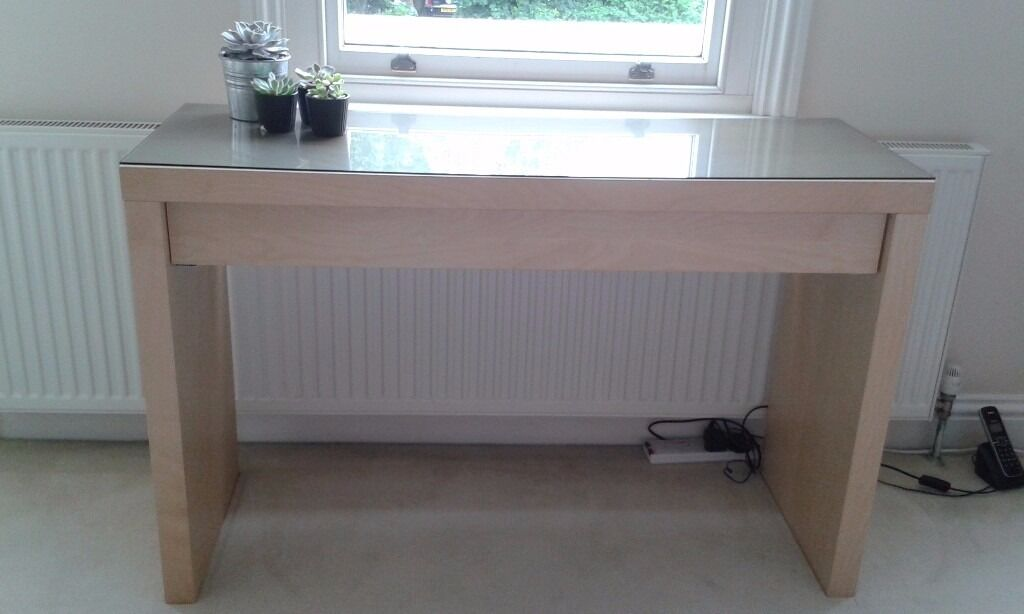 Great Birch MALM IKEA Dressing Table With Glass Top And Large Pull Out Draw