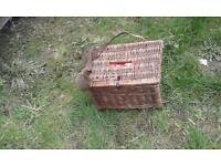 Junior vintage fishing creel with accessories