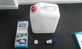 Caravan towing mirror still in box fresh water bottle 240 mains extension lead adapter