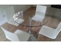 John Lewis Glass dining table with 4 white/chrome chairs.