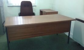 Desk with attached 3 drawer unit and 2 shelf, 2 sliding door unit