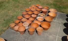 Selection of clay garden pots