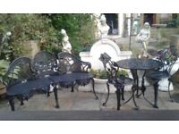 Antique Cast Iron Bench with Vintage Cast Aluminium Table and 2 Chairs in Black