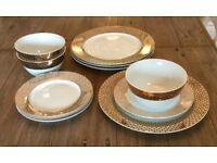 New Next Gold Fitzroy Porcelain Dinner Set