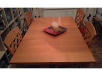 Cherry Wood Dining Table and 4 Chairs