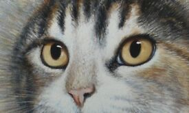 Large painting of a tabby cat