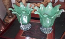 2 murano style green glass vases & various glass pieces
