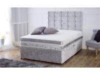 WOW!!!! BRAND NEW DESIGNER CRUSH VELVET DIVAn DOUBLE BED ALL SIZE AVAILABLE SINGLE KINGIZE