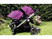 Gorgeous Purple Baby Jogger City Select DOUBLE PRAM including Buggy Board & Footmuffs (RRP £808)