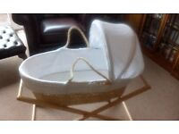 John Lewis Moses Basket with Stand and Linen