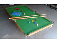 Small Snooker Table with Cues and Balls.