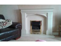 "Stone Effect Fire Surround With ""Marfil Stone"" Hearth And Back"