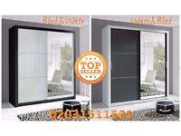 Lux 180 2 Door Sliding high gloss+Mirror Wardrobewhite*black black&white cabinet