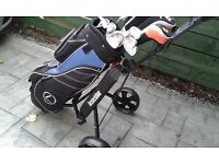 Complete (NEW) Left Handed Golf Package Set, Woods, Irons, Putter, Cart Bag, Pull Trolley, a glove.
