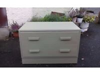 chest of 2 drawers, solid oak in green, retro bedside cabinet 1960 s, shoe storage, dresser
