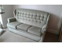 Sage Green Dralon 3 Seater Settee and Armchair. Very Good Condition.