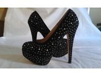 Koi Couture Black Diamante Shoes Size 3 (36)