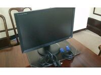 Very large PC Monitor 24 inches FULL HD with 2 cables 2ms