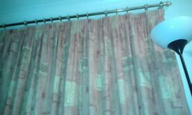 Lined curtains with tie backs amd pole