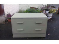 chest of 2 drawers, solid oak painted tea green, retro bedside cabinet 1960 s, shoe storage, dresser