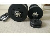 Dumbbell set - 25kg worth of plates - plus bar weight