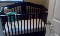 Cherry Wood 3 in 1 Crib with extras